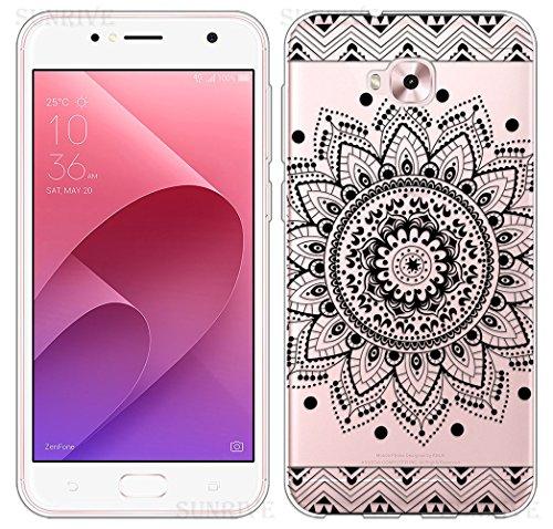 Sunrive Für Asus Zenfone Live Plus ZB553KL 5,5 Zoll Hülle Silikon, Transparent Handyhülle Schutzhülle Etui Hülle Backcover(TPU Blume Schwarze)+Gratis Universal Eingabestift