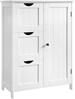 VASAGLE Bathroom Storage Cabinet, Floor Cabinet with 3 Large Drawers and 1 Adjustable Shelf, 23.6 x 11.8 x 31.9 Inches, White UBBC49WT