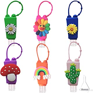 NimJoy 6PCS Kids Empty Hand Sanitizer Holder Keychain Carrier, Leakproof Squeeze Portable Travel Size Bottles w/Silicone S...