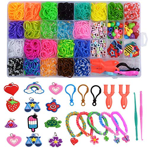 Rainbow Rubber Bands Kit, Bracelet Making Set for Boy Girl Weaving DIY Craft Gift Set Include: 2000+ Loom Bands, 3 Hooks, 12 Cartoon Flowers, 3Pcs S Clips, 4 Grid Beads