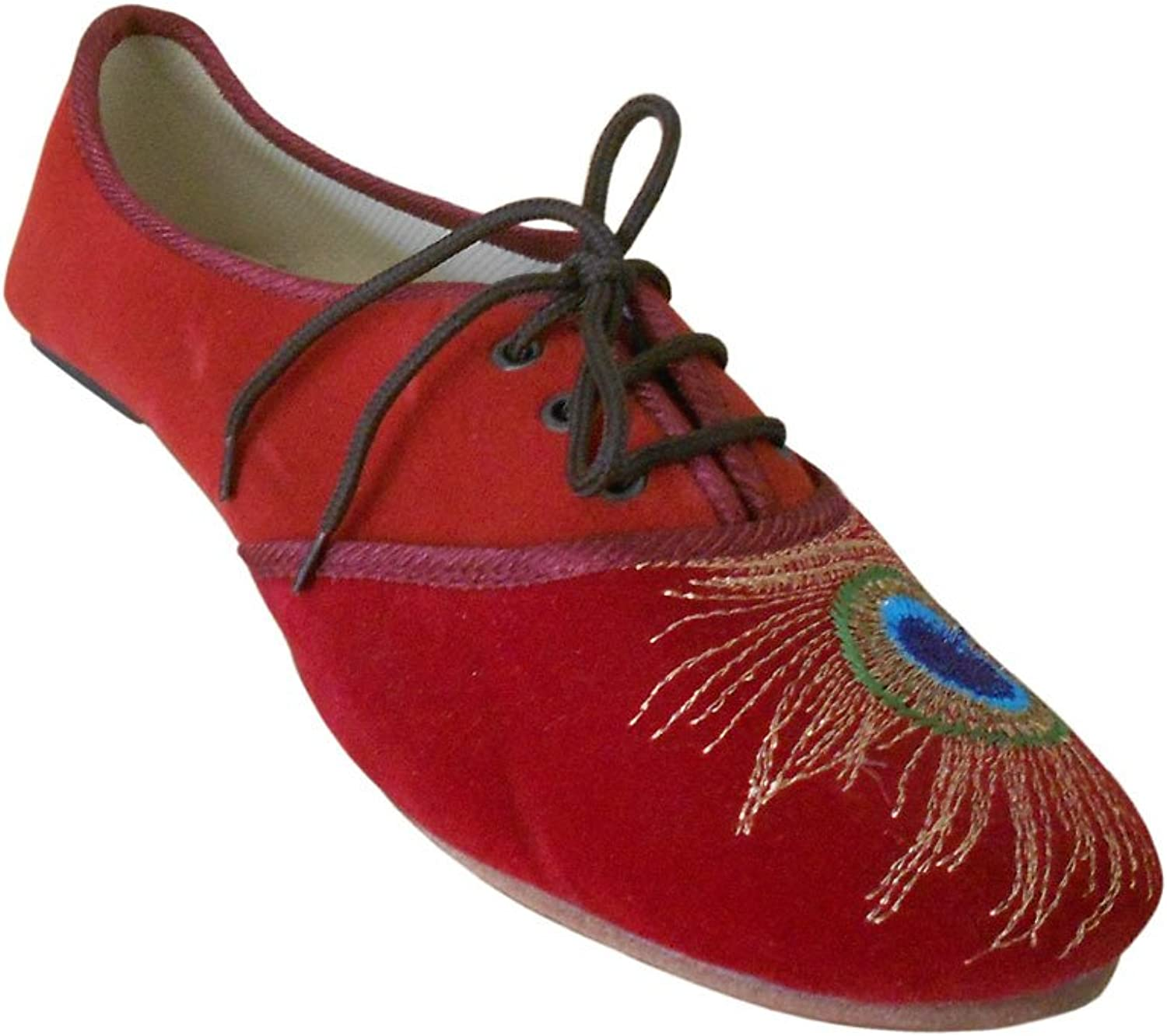 Kalra Creations Women's Traditional Indian shoes Velvet Loafer Flats