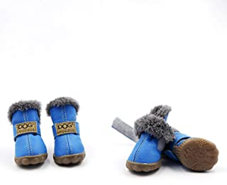 Dog Winter Boots Shoes, Warm Synthetic PU Suede Waterproof Pet Booties Anti-slip Boots, Non-Slip Rubber Sole Paw Protector Faux Fur Breathable Boot for Small Medium Large Labrador Husky Shoes Set of 4