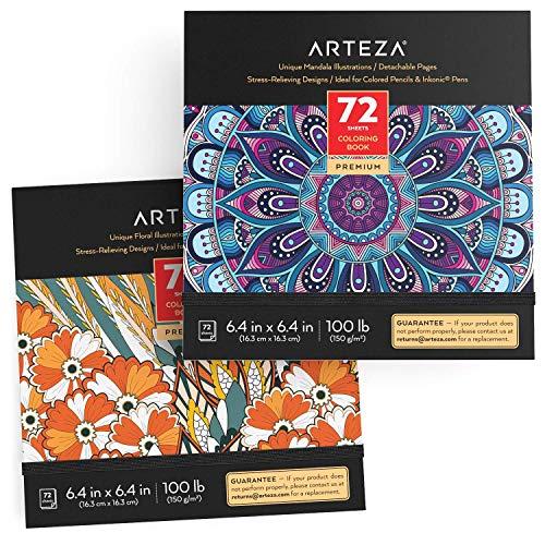 Arteza Libri da Colorare per Adulti, Set da 2, Disegni da Colorare per Adulti Floreali e Mandala, 144 Fogli Totali Staccabili, 150 g/m2, 16,3x16,3 cm, Libro Antistress da Colorare per Relax da Ansia