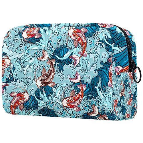 Bolsa de maquillaje personalizable, portátil, bolsa de aseo para mujer, bolso de mano, organizador de viaje, dibujado a mano, carpas, peces y olas de mar, azul