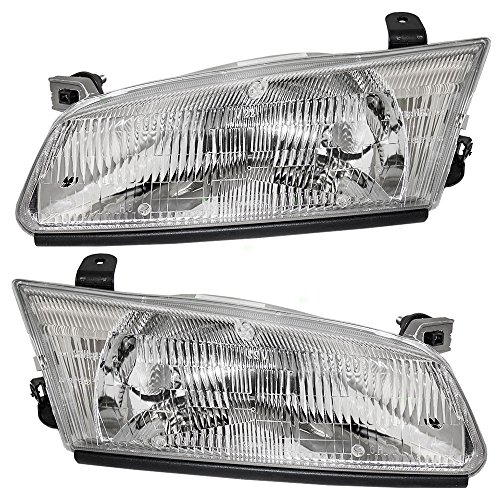 Headlights Headlamps Driver and Passenger Replacement for 1997-1999 Toyota Camry 81150AA010 81110AA010