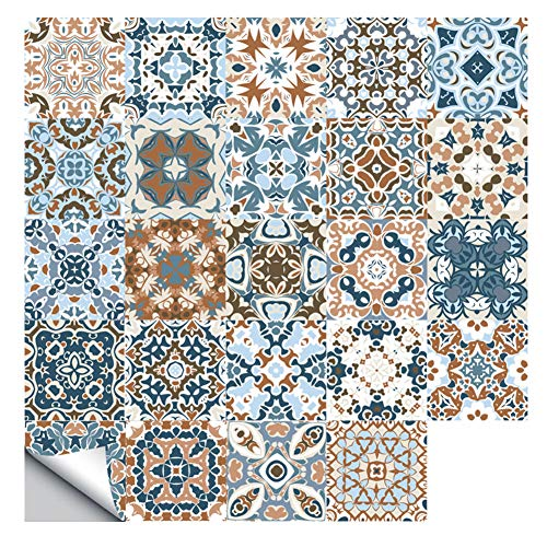 WANGXL Pegatinas De Azulejos De Mosaico MarróN Autoadhesivas Retro De 24 Piezas para DecoracióN De Cocina De BañO, Pegatina De Azulejos De Pared Impermeable