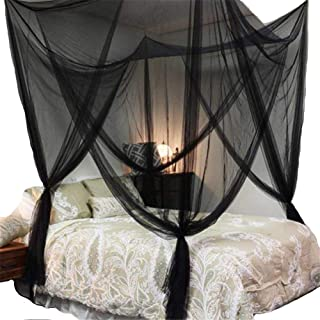 Lighting-Time 4 Corners Post Bed Canopy Twin Full Queen King Mosquito Net for Full Queen King Bedding(Black)