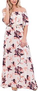 VIGVOG Women's Boho Floral Print Off Shoulder Maxi Casual Dress with Short Sleeves