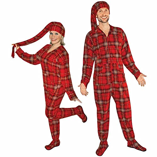 Red Plaid Fleece Adult Footed Pajamas with Drop Seat and Long Night Cap 370219cda