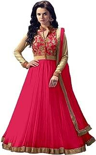 Rahi Fashion Women's Gajri Net Anarkali Embroidered Semi-stitched Salwar Suit Dupatta Material
