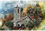 ZXlDXF Pintura por números para adultos Kits Scenic Lodge pinturas acrílicas para principiantes y experimentados pintores de pasatiempos 40,6 x 50,8 cm sin marco