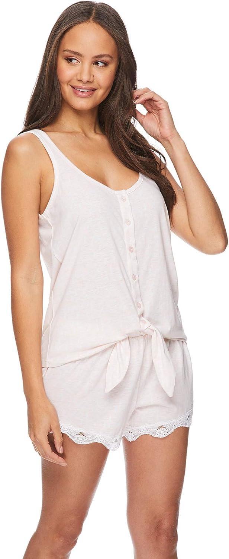 bebe Womens Tie Strap Tank Top and Pajama Shorts Lounge Sleep Set