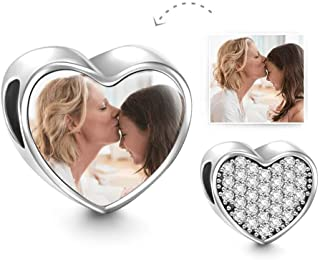 SOUFEEL Customized Photo Charm Beads for Bracelets Hold Picture Personalized Heart Hanging Pendant Jewelry Fit Bracelet Ne...