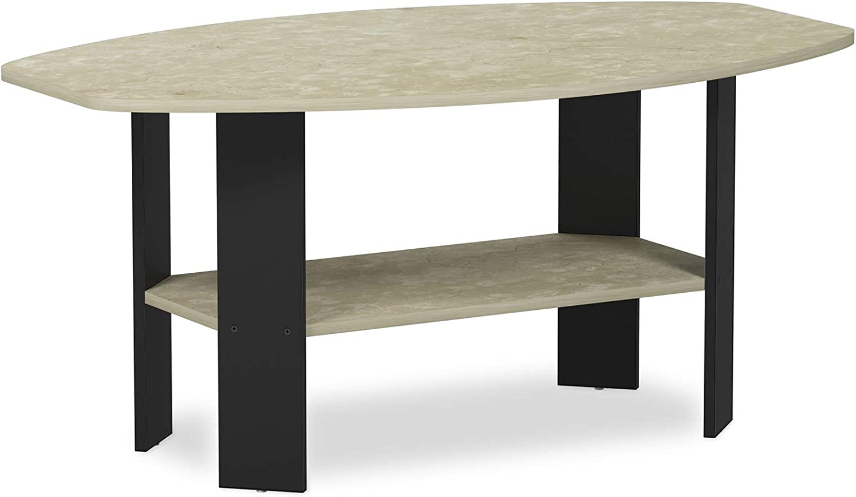 Furinno 11179CRM Simple Design, Coffee Table, Cream Faux Marble Black
