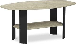FURINNO Simple Design Coffee Table, Cream Faux Marble/Black