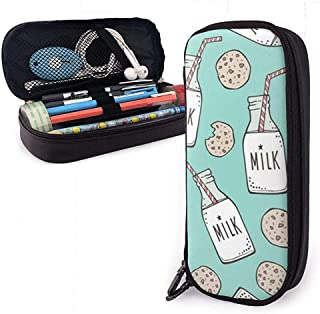 Milk and Cookies On Mint Green Leather Pencil Case,Pencil Bag Pouch with Zipper Pen Holder Nanoprint Leather Stationary Case