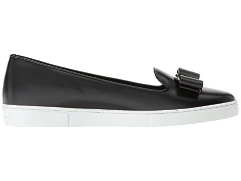 6406bc73ca447 Salvatore Ferragamo Novello Leather Bow Slip-On Sneakers at Luxury ...