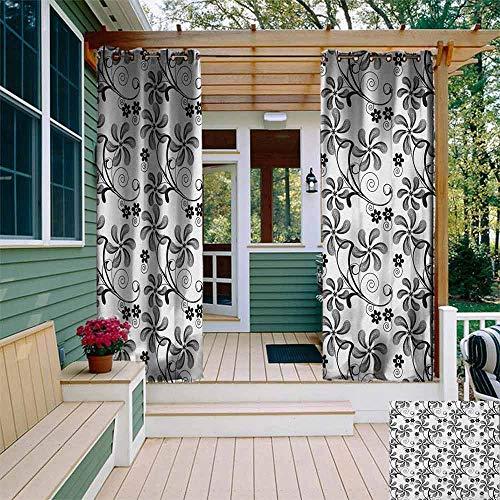 Outdoor Grommet Venster Gordijn Bloemen Monochrome Doodle Stijl Bloeiende Planten in verschillende vormen Swirls en Lijnen Afbeelding Grommet Gordijnen voor Slaapkamer W108