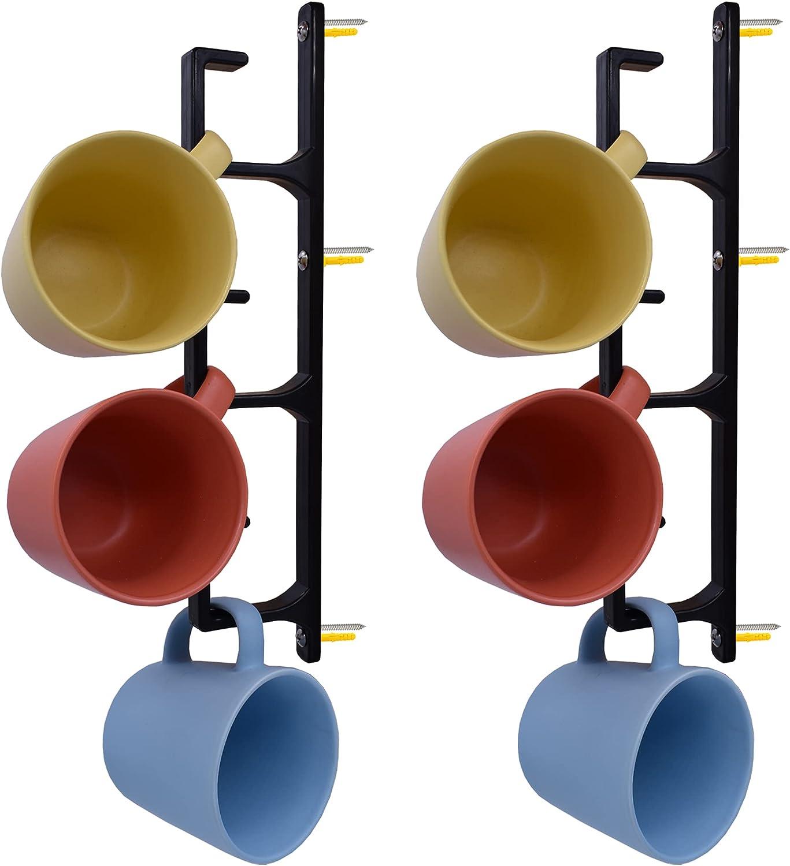 YYST Black Vertical 25% OFF Narrow Corner Coffee W - 100% quality warranty Cup Rack Mug Holder