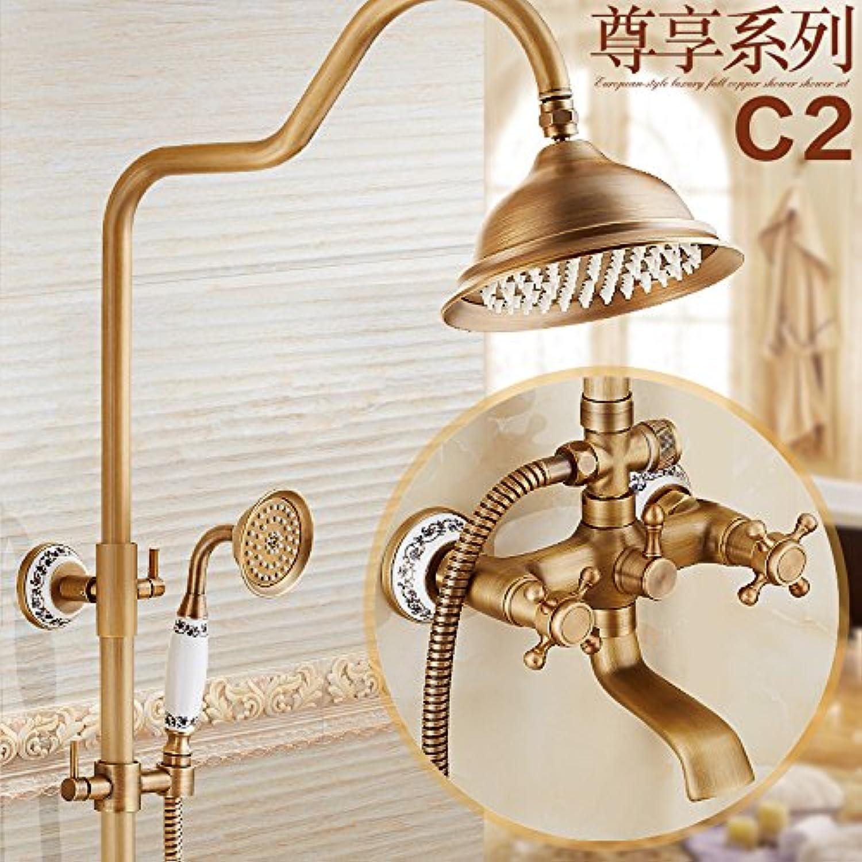 GFEI European style antique copper shower set Bronze hot and cold faucet, bathroom shower, shower nozzle,M