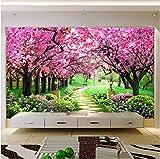 Benutzerdefinierte 3D Fototapete Blume Romantische Kirschblüte Baum Kleine Straße Wandbild Tapeten Für Wohnzimmer Schlafzimmer De Parede 200X140 Cm