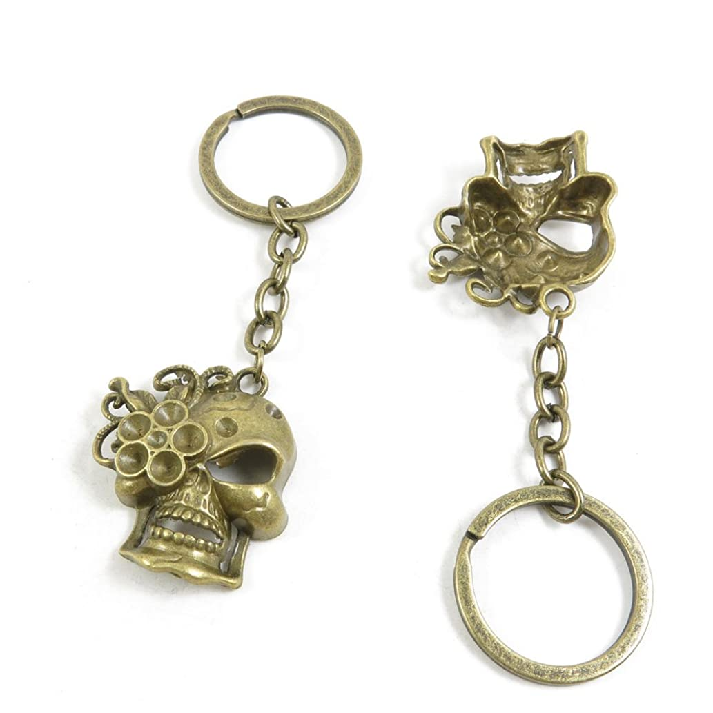 120 Pieces Fashion Jewelry Keyring Keychain Door Car Key Tag Ring Chain Supplier Supply Wholesale Bulk Lots F0LD5 Female Lady Skull