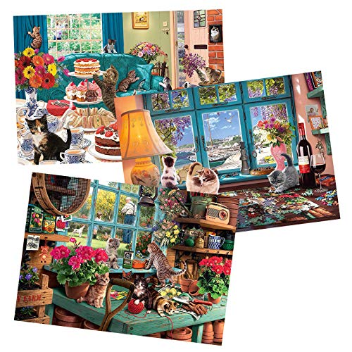 300 Pcs 3 Packs of Window Sill Cat Jigsaw Puzzles for Adults Children 300 Piece Adult Children Puzzles  Jigsaw Puzzles 300 Pieces for Adults Children