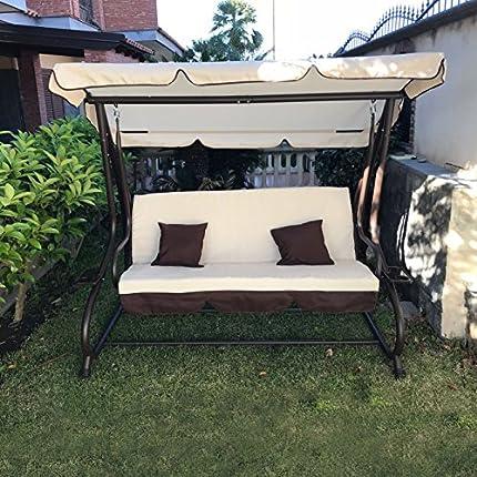 Balancín de jardín de 3plazas con techo parasol y sofá cama. Columpio inclinable