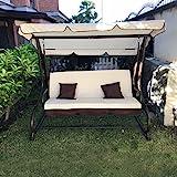 Balancín de jardín de 3plazas con techo parasol y sofá cama....
