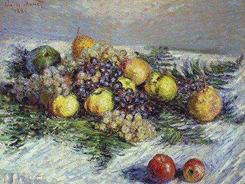 Artland Alte Meister selbstklebendes Wandbild Claude Monet Stilleben mit Birnen und Trauben Wandtattoo Art 60 x 80 cm Kunstdruck Gemälde Impressionismus R0NS