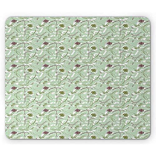Woodsy Mouse Pad,Herbst Zweige Samen Eicheln Und Tannenzapfen Von Hand Gezeichnet,Rechteck Rutschfestes Gummi-Mauspad,Standardgröße,Mandelgrün Multicolor