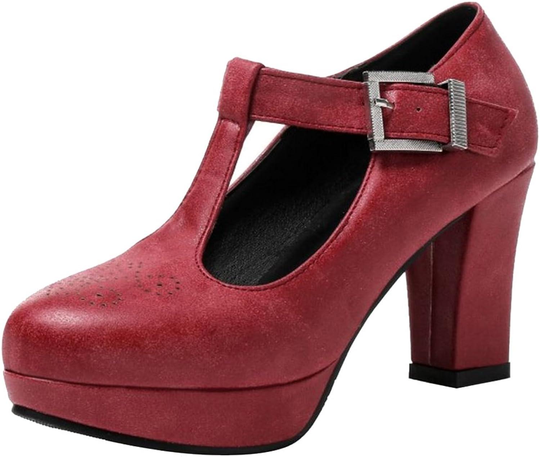 VulusValas Women Block High Heel Pumps