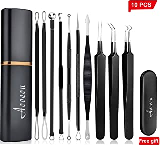 [Upgrade]Pimple Popper Tool - Aooeou Professional Stainless Steel Pimple Tweezers Comedones Extractor Tool Kit- Treatment for Pimples,Blackheads,Zit Removing, Forehead and Nose