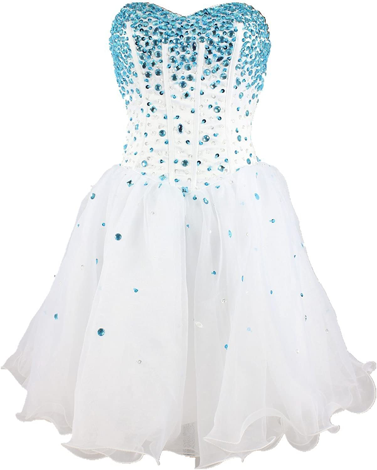 CharmingBridal Girl's Strapless Crystal Homecoming Dress Short Prom Dress SD001