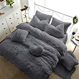 Teddy Fleece Duvet Cover with Pillow Case Thermal Warm Soft Cozy <span class='highlight'>Bedding</span> Bed Set (Silver Grey, King Duvet Cover Inc P/Case)
