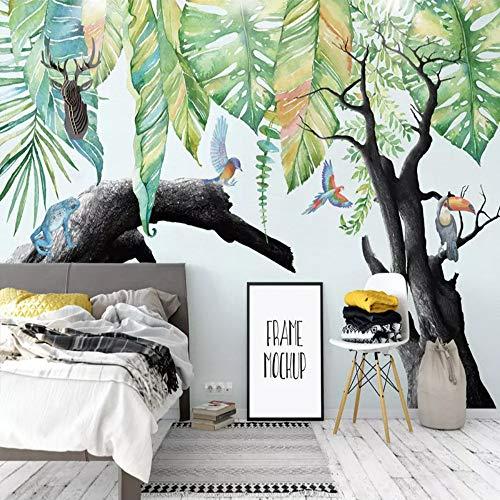 Mddjj Benutzerdefinierte 3D Wandmalereien Moderne Tropischer Regen Wald Pflanze Verwelkte Baum Tier Fototapete Kinder Schlafzimmer Wohnzimmer Tapeten-350X245Cm