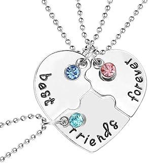 BESTOYARD - Collar con colgante de corazón con diamantes de imitación grabados (plata)
