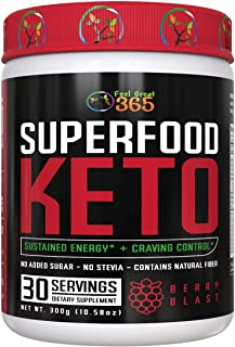 Superfood Keto by Feel Great 365 - Doctor Formulated Ketosis Supplement with Over 50 Superfoods, No Sugar Added, No Stevia...
