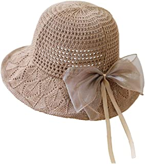 YiyiLai Solid Bowknot Wide Brim Hollow Bucket Cap Fisherman Sun Hat