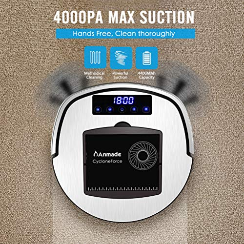 Anmade Robot Vacuum Cleaner, Robotic Vacuum CycloneForce 4000Pa More Powerful Suction, Works with Alexa, 120 Mins Runtime, Self-Charging, WiFi Connectivity, App Controls, for Pet Hair, Hard Floors