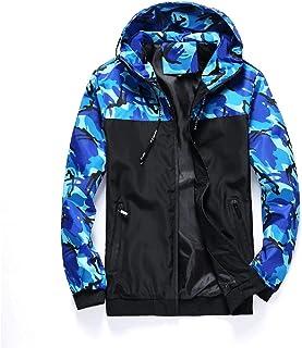 Howely Men's Autumn Zipper Camouflage Hooded Teenagers Windbreaker Jackets