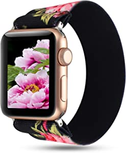WONMILLE Compatible with Apple Watch Scrunchie Band 38mm/40mm Series 5/4, Stretchy Loop Nylon Elastic Bracelet Wristbands for iWatch 42mm/44mm Strap Accessories