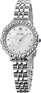 SKMEI Quartz Watches Rose Gold Fashion Waterproof Wrist Watches with Glass Mirror for Women Gifts for Office Ladies Teens