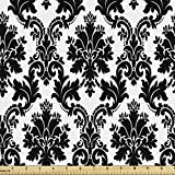 Lunarable Damask Fabric by The Yard, Vintage Style Pattern Classical Victorian Interior Design Elements Floral Print, Decorative Fabric for Upholstery and Home Accents, 1 Yard, Black and White
