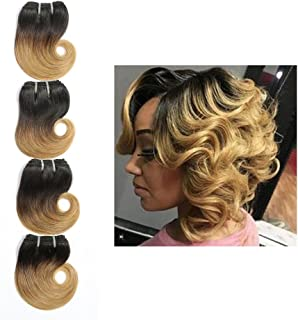 Ombre 1B 27 Human Hair Short Body Wave Bundles Two Tone Brazilian Hair 6