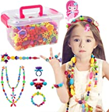 Conleke Pop Snap Beads Set 500 PCS for Kids Toddlers Creative DIY Jewelry Toys - Making Necklace,Bracelet and Ring - Ideal Christmas Birthday Gifts for 4,5,6,7,8 Year Old Girls (Box-Packaging)