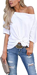 Best off the shoulder white t shirt Reviews