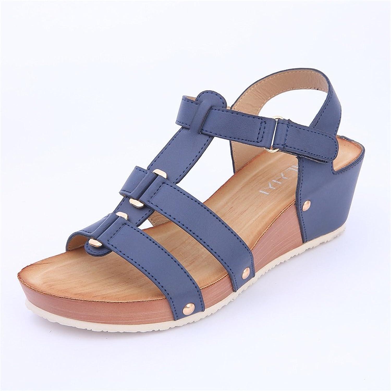 Women's shoes Leather New Spring Summer Comfort Sandals Wedge Heel Wedge Heels Simple Metal Flat Heel Ladies shoes