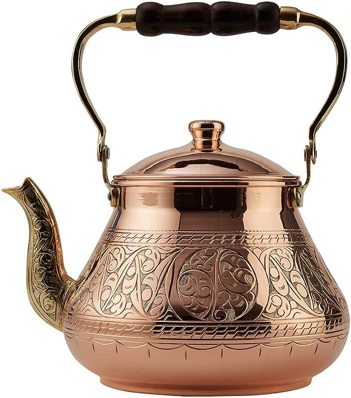 DEMMEX 2019 Heavy Gauge 1mm Thick Natural Handmade Turkish Copper Engraved Tea Pot Kettle Stovetop Teapot LARGE 3 1 Qt 2 75lb Engraved Copper