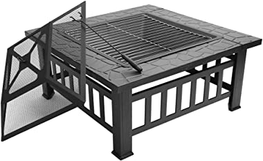 """FCH 32"""" Outdoor Square Fire Pit with BBQ Rack, Rain Cover, Spark Screen Top and Poker Metal Firepit for Outside Backyard"""